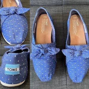 Toms Imperial Blue Chambray Dot Bow Classics